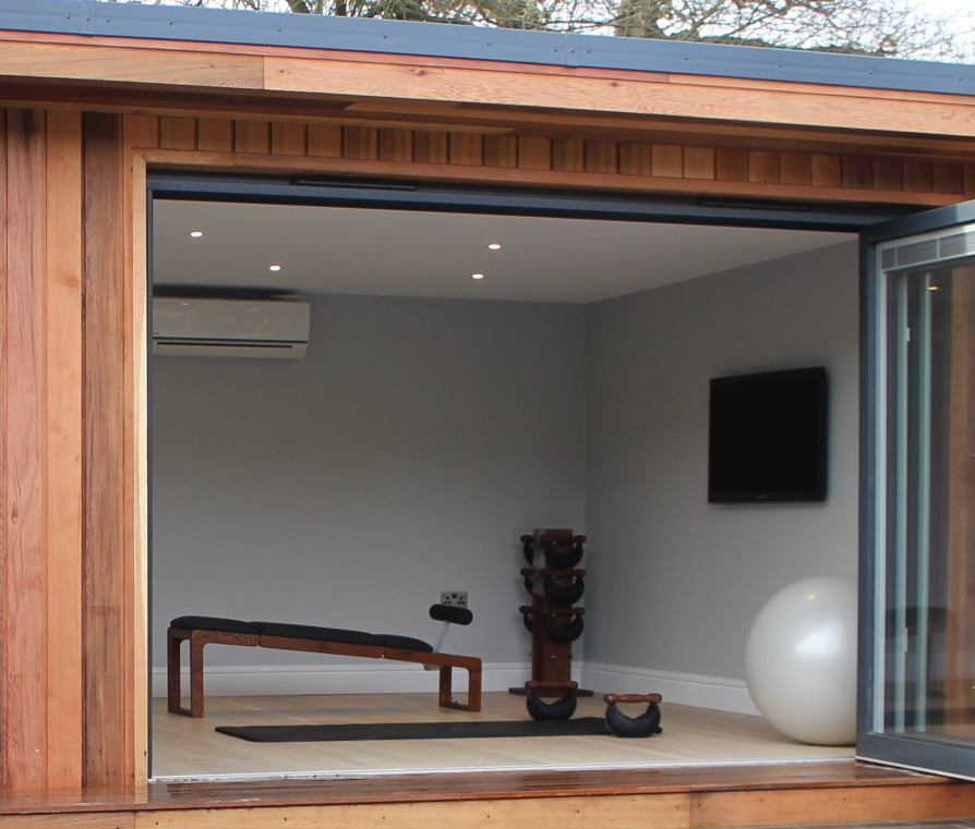 Garden room gym studio in Essex