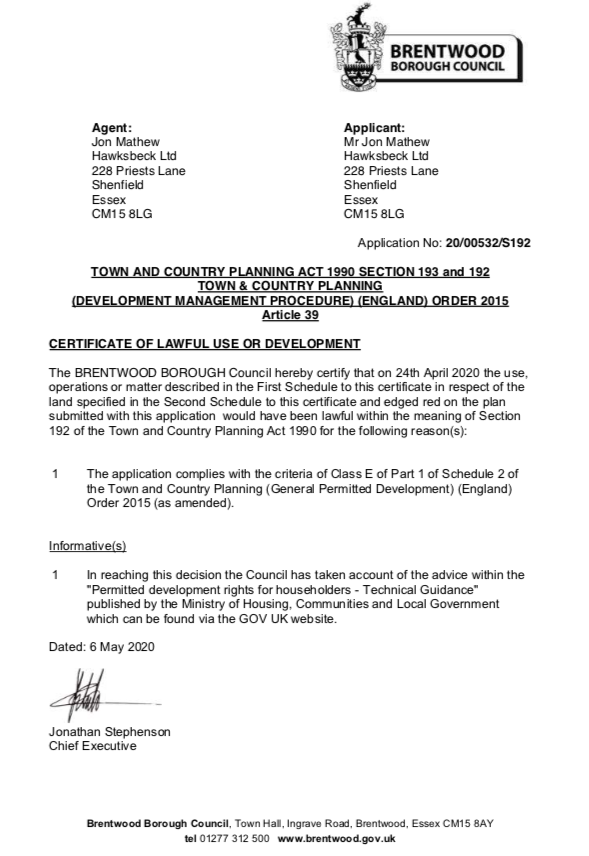 Certificate of lawful use for garden rooms