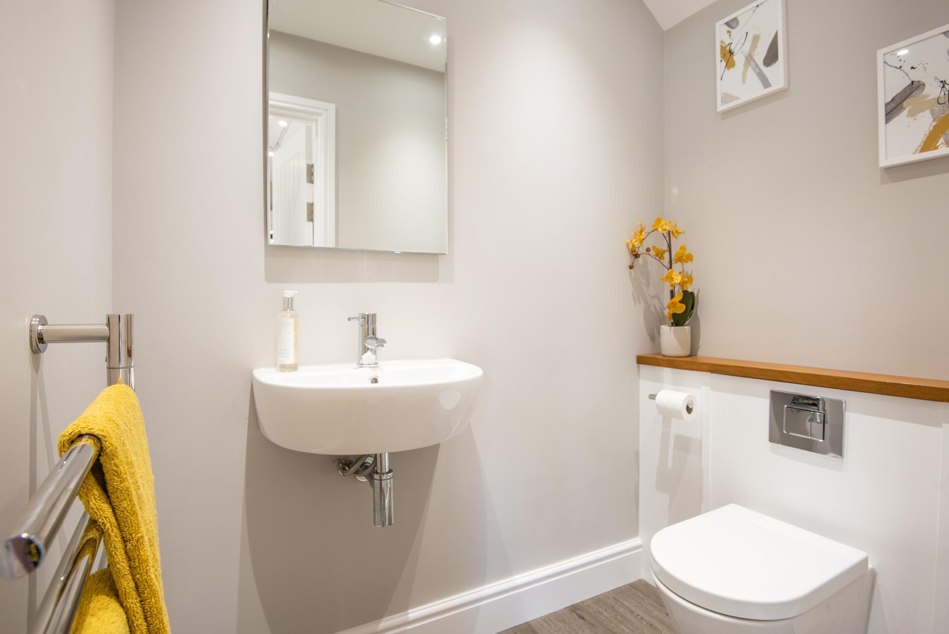 Contemporary garden room bathroom in Essex.