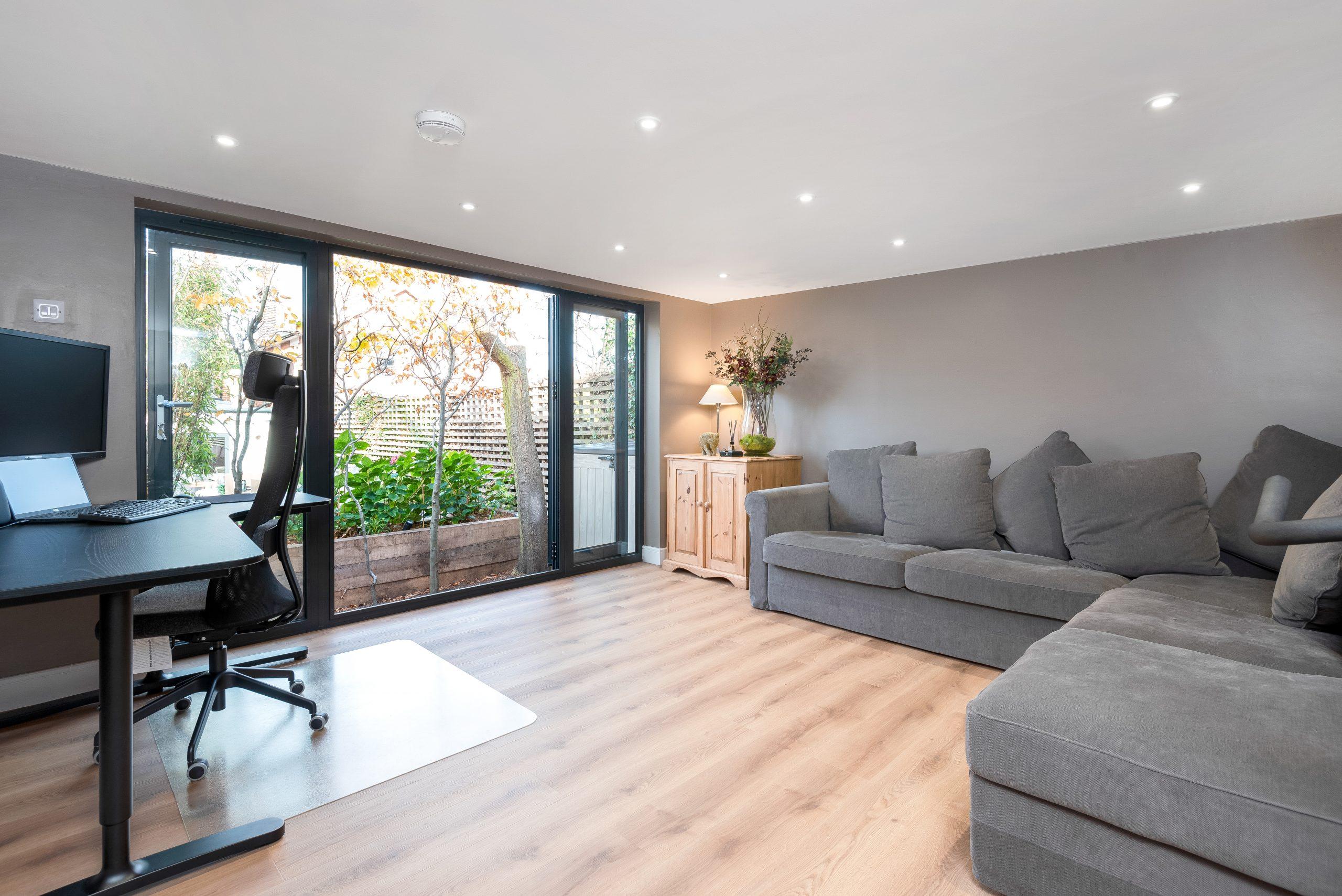 Contemporary living area in garden room